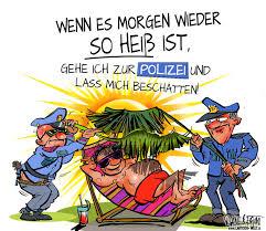 Polizei Beschattung Lustiger Cartoon Zum Sommer Und Hitze