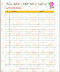 Party List Template Birthday Party Guest List Template Dotxes