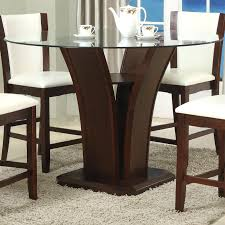 counter height tables crown mark espresso round glass top table with inverted base kitchen leaf