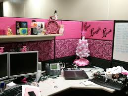 office decor stores. Cubicle Office Decor With Pink Nuance And Small White Christmas F Tree On Wooden Desk Stores