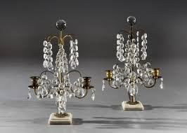 19th century pair of victorian cut glass candelabra candlesticks on marble bases