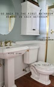 wipe the sink wipe the toilet and wipe the tub or shower take care to use a separate cloth or paper towel for the each toilet sink and bathtub shower