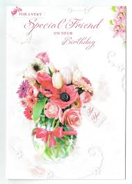 Friend Birthday Card With Choice Of Embossed Flower Designs