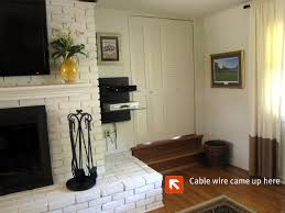 mount tv on brick fireplace cable wire