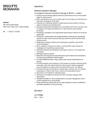 Business Operations Manager Resume Sample Velvet Jobs
