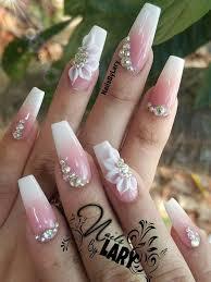 ballerina nails ombre 3d nail art with rhinestones acrylic