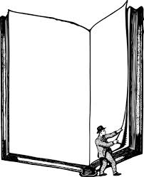 man listing book frame vector ilration
