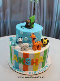 Animal Theme 2 Layer 3d Fondant Cake For 1st Birthday Boy Cake By