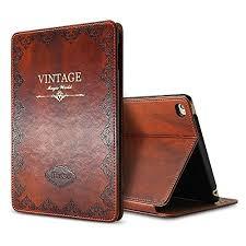 ipad mini 4 vine brown book type leather case flip cover miniko tm modern slim book style case for ipad mini 4 premium pu leather smart case auto sleep