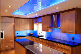 custom kitchen design with led colour changing rgb strip lights by lumilum
