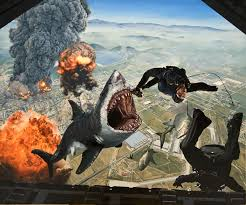 oil painting of exploding sharks and skydivers that i made it s really a painting i swear