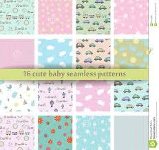 Reeks Van 16 Leuk Baby Naadloos Patroon Retro Roze Witte En Blauwe