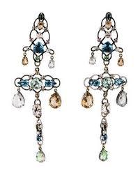 lanvin metallic crystal statement clip on chandelier earrings silver lyst