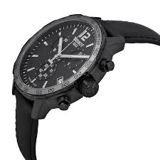 tissot quickster chronograph black dial black leather mens watch item specifics