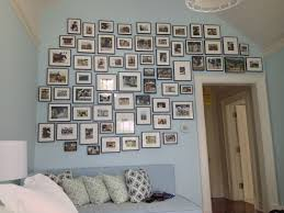 Decoration, Full Family Photo Wall Gallery Arrangements Ideas With Black  Wooden Frame And Light Blue