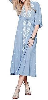 R.Vivimos <b>Womens Boho</b> Floral Embroidered Casual Drawstring Tie ...