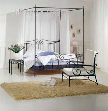 Full Size Canopy Bed Frame Bold Cream Curtains Hang Along Beds ...