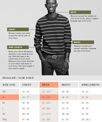 Online Shirt Size Chart J Crew Example Size Guide Measurements Buy Clothes