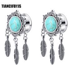 Dream Catcher Tunnels TianciFBYJS 100Pcs Ear Plugs Tunnel Stainless steel Piercing Dream 60