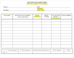 Training Record Sheet Template Staff Training Record Template Employee Form In Excel