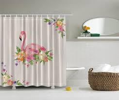 details about tropical pink flamingo digital shower curtain paradise hawaiian flowers decor