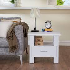 Vierkante Eenvoudige Bijzettafel In Heldere Witte Kleur Kantoor En