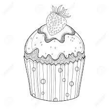 白い背景に分離された黒イチゴの熟したベリーのカップケーキを概説します夏甘い食べ物デザインやベーカ