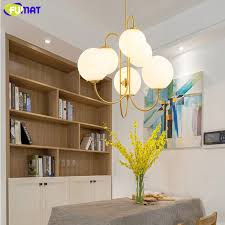 fumat bubble glass chandeliers modern gold iron suspension light for dinning room living room white glass