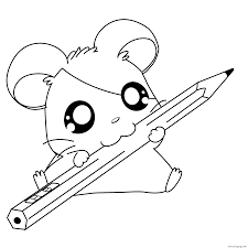 print cute hamtaro with a pencil 4c2c coloring pages