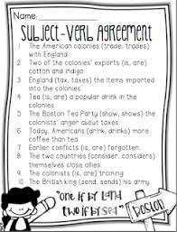 Subject Verb Agreement Chart Life In Fifth Grade Subject Verb Agreement Freebie