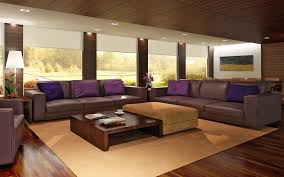 ... Chic Large Living Room Layouts Ideas With Deep Purple Color Leather  Sofas And Throw Pillows Also ...