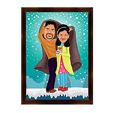 giftscolour personalised caricature theme gift for couple desktop photo frame gift for husband gift