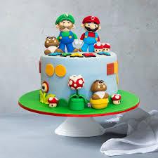 Even mario & luigi mustaches! Collections Of Super Mario Birthday Cakes