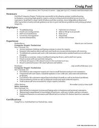 Resume Of Computer Technician Objective Resume Resume Examples
