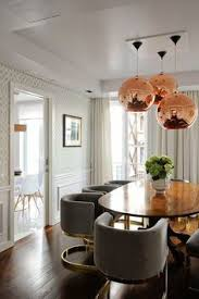 grey and br chairs modern mid century hollywood regency dining room rose gold copper pedant light br metal grey fabric upholstered dining chairs