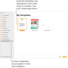 custom template in pages on mac