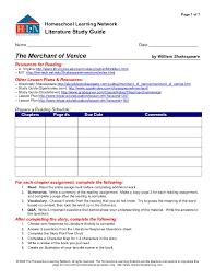 Literature Study Guide: The Merchant of Venice 10th Grade ...
