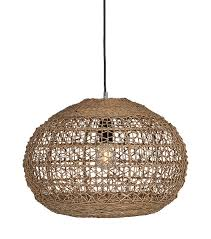 round pendant light made from natural straw like material weaved into a basket shape the lit