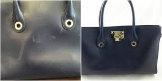 this bag had become faded and scratched with use when we re the leather we clean the bag thoroughly repair any scratches and then re the colour