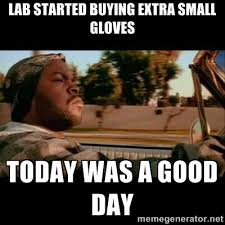 Lab started buying extra small gloves Today was a good day - Ice ... via Relatably.com