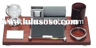 wooden desk set pen cup card holder clock 10091
