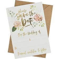 Save The Date For Wedding Gold Foil And Floral Save The Date Cards And Envelopes 25 Pack
