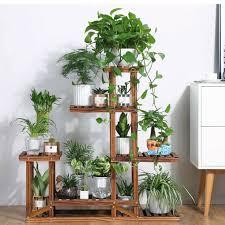 details about wooden plant flower stand shelves garden planter 5 tier pot display rack holder