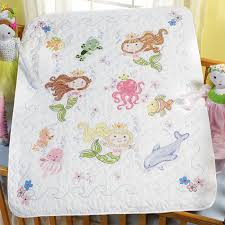 The Mermaid Bay Baby Quilt Kit is a Stamped Cross Stitch crib ... & The Mermaid Bay Baby Quilt Kit is a Stamped Cross Stitch crib cover kit  from Bucilla Adamdwight.com
