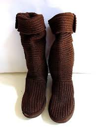 UGG Australia Uggs 5819 Classic Cardy Tall Brown Knit Fabric Boots Sz 11
