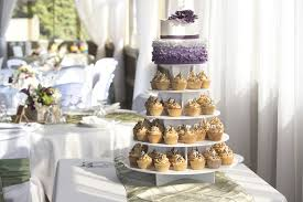 Wedding Cupcakes Were Salted Caramel With A 2 Tier Ombre Ruffle Cake