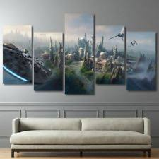 star wars millennium falcon 5 piece canvas panel wall art print on star wars canvas panel wall art with ash wall decor wall art and more ebay stores