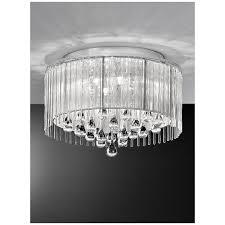 spirit chrome and crystal 6 light flush ceiling light