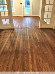 staining red oak hardwood floors 9 stain on entryway and room floors