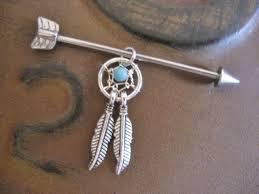 Dream Catcher Industrial Bar Industrial Barbell 100g 100g Earring Arrow Industrial Barbell 2